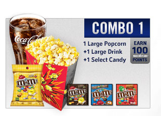 Combo 1 1 regular popcorn 1 regualr drink 1 select candy
